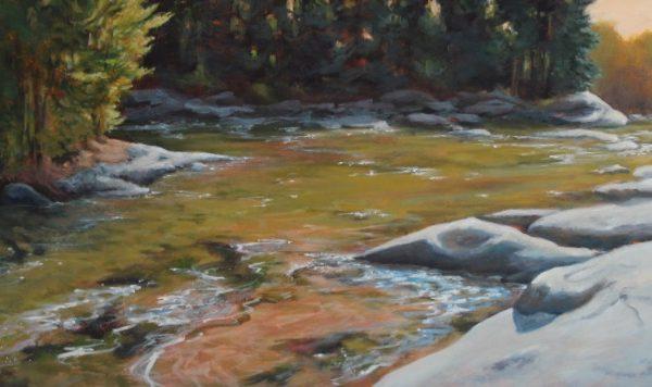 SHALLOW RIVER acrylic on canvas 26x48 framed 4100