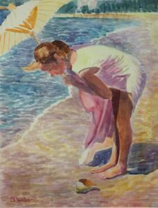 CATHERINE BY THE SEA  |  Watercolor on paper  |  24 x 18  |  33.5 x 27.5 Framed  |  $5000