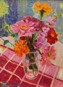DAHLIAS  |  Oil on canvas  |  12 x 9  |  17.25 x 14.25  Framed  |  $4000