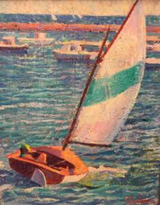 SAILING HYANNISPORT  |  Oil on canvas  |  20 x 16  |  26.5 x 22.5 Framed  |  $7000
