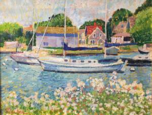 BOATS AT FALMOUTH HARBOR  |  Oil on canvas  |  14 x 18  |  19 x 23 Framed  |  $6000