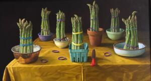 ASPARAGUS PLATOON  |  Oil on linen board  |  18 x 32  |  20 x 34 Framed  |  $5200