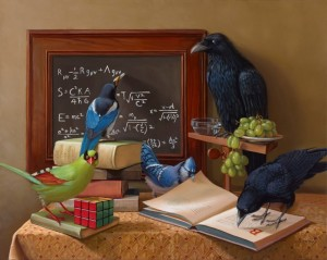 A FEW MEMBERS OF THE CORVID FAMILY  |  24 x 30  |  Oil on canvas   |  $5500
