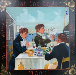 AT THE TABLE     Oil on masonite     20 x 20 Framed     $2500