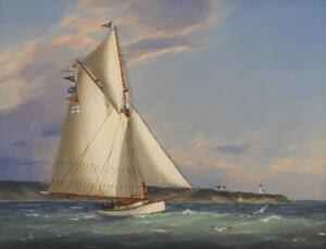 DAY SAIL OFF CAPE POPE LIGHT     Oil on Panel     13.5 x 11.75    $5200 Framed