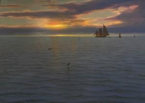 FISHERMEN AT SUNSET  | Oil on Panel  |  16.5 x 13  |  SOLD