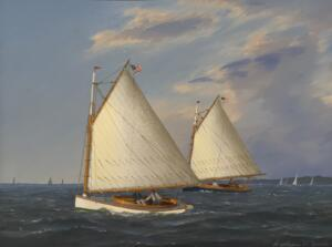 CAT BOATS RACING    Oil on Panel     15.75 x 12.75     $ 6200 Framed