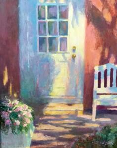 BEYOND THE DOOR  |    Oil on panel  |  14 x 11  |  19.5 x 16.5 Framed  |  $850
