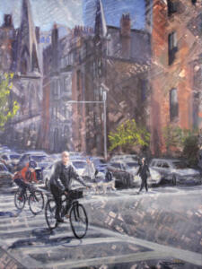 BIKING BOSTON  | Oil on canvas  | 40 x 30  |  $1800