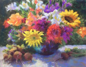 BLOSSOMS  BEETS  | Pastel on paper  | 14 x 18  | 21.5 x 25.5 Framed  |  $2250