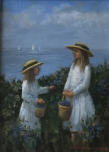 BLUEBERRY PICKERS  |  6 x 8  |  Oil on board  |  10 x 12 Framed  |  $450