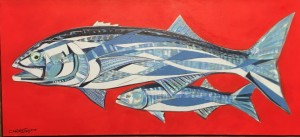 BLUE FISH  |  13.5 x 30  |  Acrylic on canvas  |  15.5 x 32  Framed  |  $850