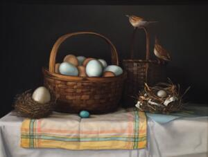EGGS, NESTS AND WRENS      18 x 24     Oil on Linen    $5400