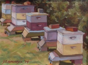 BEEHIVES | 8 x 10 |   Framed  | Oil on canvas |  $450