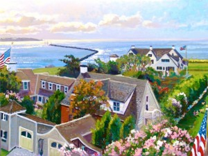 BIRD'S EYE VIEW KENNEDY COMPOUND   | 30 x 40  |  Acrylic on Canvas  |  $3300 Unframed  |  $3600 Framed