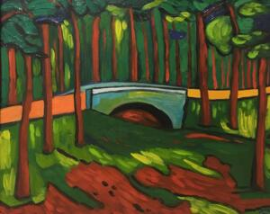 BRIDGE IN FOREST   |  Oil on canvas    |  20 x 24    |  24.5 x 28.5 Framed    |  $2300