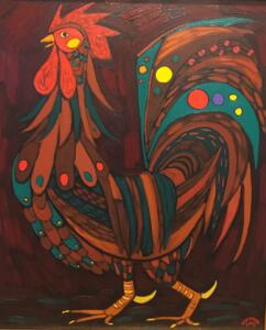 BURGUNDY ROOSTER |  Oil on canvas   |  24 x 20    | 26.5 x 22.5 Framed   |  $2300