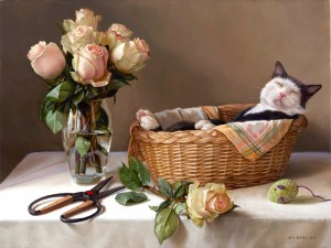 CAT IN A BASKET  |  18 x 24   |  Oil on canvas   |  $5000