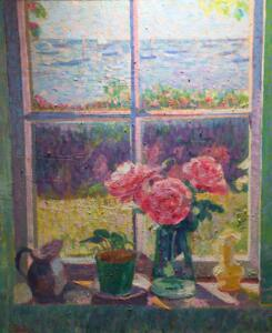 STILL LIFE BY WINDOW HYANNISPORT  | oil on canvas |  24 x 20  | framed | 30.5 x 26.5 |  Inquire for pricing