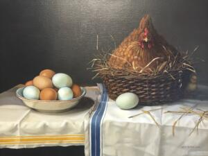 CHICKEN AND EGGS  |  Oil on linen  |  16 x 21  |  21 x 26 Framed  |  $4300