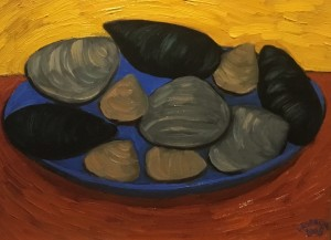 CLAMS AND MUSSELS II  |  Oil on canvas  |  11 x 14  |  18 x 21 Framed  |  $700
