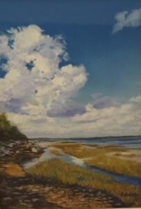 CLOUDS OVER SCUDDER LANE  LANDING, WEST BARNSTABLE  |  Pastel on paper  |  13 x 9  |  23 x 19 Framed  |  $850