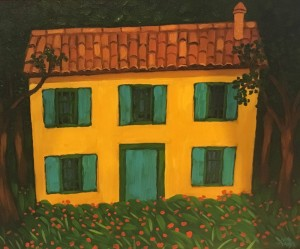 COTTAGE IN THE WOODS     Oil on canvas     16 x 20     23 x 28 Framed     $1500
