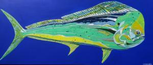 MAHI MAHI BLUE  |  Acrylic on canvas  |  24.5 x 58  |  26.75 x 60.25 Framed  |  $1900