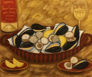 CLAMS AND MUSSELS  |  Oil on canvas   |  20 x 24    | 27 x 31 Framed   |  $2400