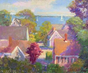 SUMMER ROOFTOPS  |  Oil on board  |  20 x 24  |  26.5 x 30.5 Framed  |  $2900