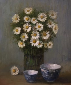 DAISIES WITH ANTIQUE BOWLS | Oil on board | 13.5 x 16 | $600