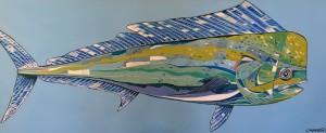 DOLPHIN FISH     Acrylic on canvas     20 x 47     27 x 54 Framed     $1850