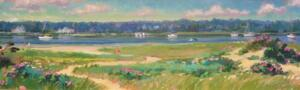DOWSES BEACH DAY  |  Acrylic on canvas  |  12 x 36  |  18 x 41 Framed  |  $3100