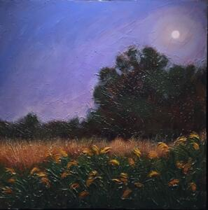 EARLY MOONRISE  |  Acrylic on canvas  |  18 x 18 inches |  19 x 19 framed  |  $1600