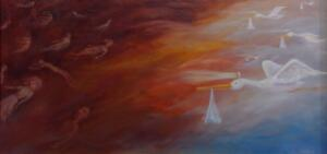 ENDINGS AND BEGINNINGS  |  18 x 36 |  Oil on canvas |  23 x 41 Framed  |  $3200