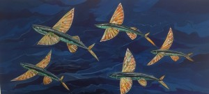 FLYING FISH   |  Acrylic on canvas  |  19 x 42  |    $1200