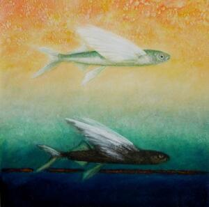 FLYING FISH #1     15.5 x 15.5     Flying fish ash and oil on panel     18.5 x 18.5 Framed     $1000