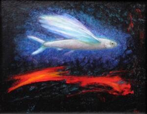 FLYING FISH #3     10.5 x 13.5     Mackerel ash and oil on panel     12 x 15 Framed     $900