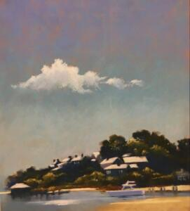 FROM THE READING ROOM EDGARTOWN |  Pastel on paper  |  20.5 x 18.5  |  31 x 28 Framed  |  $3400