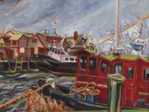 Falmouth Harbor  | 14.5 x 17.5  | Framed |  Oil on canvas  | $650