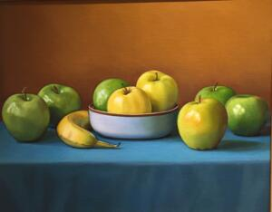 APPLES AND BANANAS     16 x 20   Oil on Linen on Panel   $4200