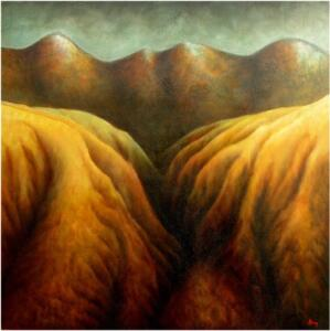 GEO-LOGIC #2  |  35.5 x 35.5  |  Red Sea sediment on panel  |  37 x 37 Framed  |  $1600