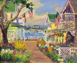 GINGERBREAD HOUSES MARTHAS VINEYARD  |  20 x 24  |  Acrylic on canvas  | 25.5 x 29.25 Framed  |  $2100