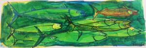 GREEN MINNOWS I  |  Acrylic on foam board  |  8 x 20  |  14 x 26 Framed  |  $165
