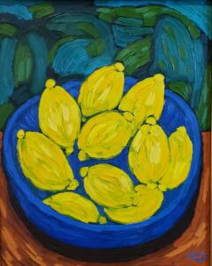 LEMONS  |  Oil on canvas  |  20 x 16  |  27.5 x 23.5 Framed  |  $1900