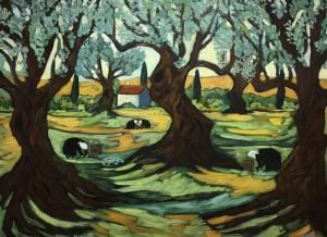GATHERING OLIVES    Oil on canvas   30 x 40     34.5 x 44.5 Framed     $5,900