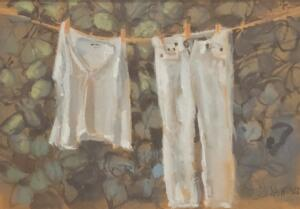 SUMMER WHITES  |  Gouache on board  |  3.5 x 5.5  |  9.75 x 11.5 Framed  |  $500