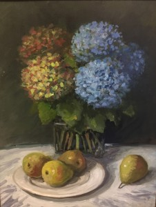 HYDRANGEAS WITH PEARS  |  14 x 11  |  Oil on board  |  24.5 x 17.5 Framed  |  $1500