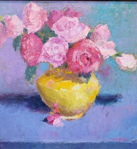 ROSES IN YELLOW VASE  |  Oil on board  |  18 x 18  |  21 x 21 Framed  |  $1400