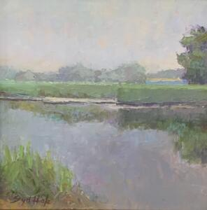 RUSHY MARSH CLOUDY MORNING  |    Oil on board  |  8 x 8  |  11 x 11 Framed  |  $500